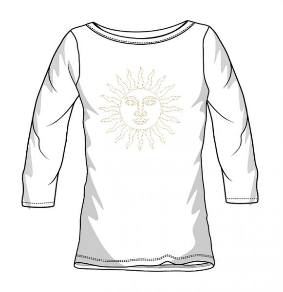 Strass St. Moritz Sonne T-Shirt Damen