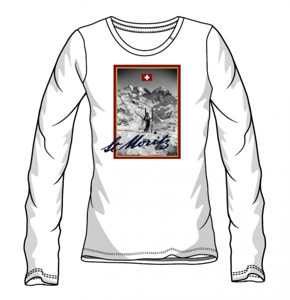 Retro Langarmshirt Ski Damen